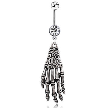 1PC New Fashion Punk Skeleton Skull Hand Shield Navel Belly Button Rings