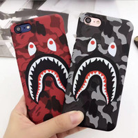 Hot Top Quality Cool Fashion Bape Shark Case For iPhone 7 6 6s Plus Bape Shark Army Phone Case Cover For iPhone 6S 5 5S SE Matte