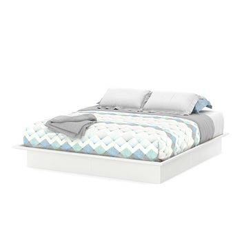 King size Contemporary Platform Bed Frame in White Finish