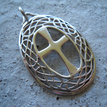 Handmade Sterling Celtic Knot Cross Pendant