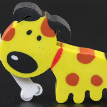 Yellow Doggie with Bone Eraser