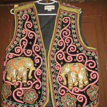 Vintage 1980's  beaded Embroidered vest, Ethnic, elephants embellished festive vest,  Boho Hippie vest by Carol Horn Workshop