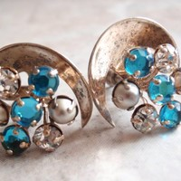 Pearl Rhinestone Crescent Earrings Sterling Silver Blue Clear Prong Set Screw Backs Vintage