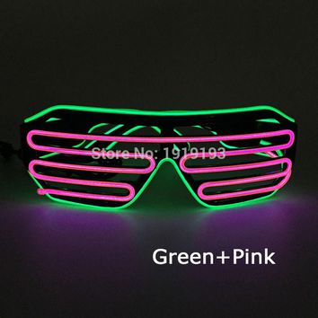 Cheap! Trendy Wedding Decor Multicolor Neon Led Light Up Shutter Glasses Holiday Lighting EL wire Sunglasses for Birthday Party
