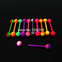 Pair 1.6*19*6/6mm surgical Stainless Steel neon colors piercing tongue barbell ring