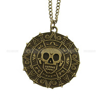 Cursed pirate necklace, doubloon aztec coin necklace by mosnos