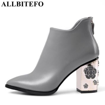 ALLBITEFO fashion retro genuine leather thick heel women boots high heel shoes Hollow heel design ankle boots winter boots