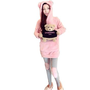 kigurumi pyjamas women Autumn coral velvet leggings knee patch pajamas cartoon cute rabbit suit pyjama femme 2016 pijama unicorn