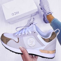 LV Louis Vuitton Fashionable Women Men Leisure Sport Shoes Sneakers White