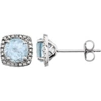Sterling Silver Sky Blue Topaz & .015 CTW Diamond Earrings