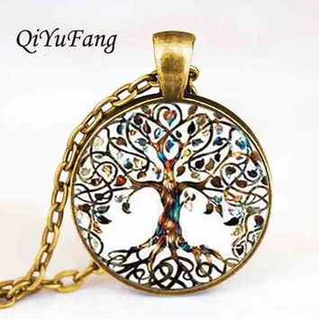 Living life Tree Cabochon Mens charm Fashion Necklace chakra Pendant Choker steampunk Jewelry Gift women glass chain antique