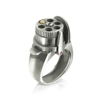 Calibro12 Designer Rings The Revolver Rotating Drum Sterling Silver Black Burnish Ring W/Gold Bullet