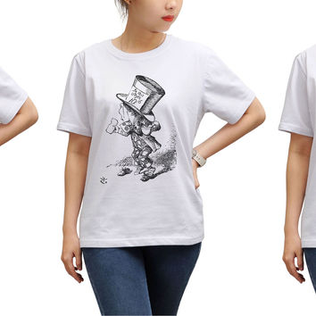 Women Alice in Wonderland Printed Round Neck Short Sleeves T- Shirt WTS_17