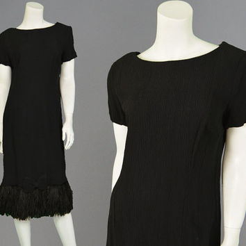 Vintage 60s Evening Dress Ostrich Feather Marabou Dress Fortuny Pleated Black Shift Dress Mod LBD Little Black Dress Cocktail Party Glam