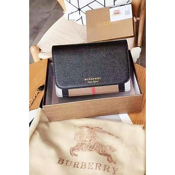Burberry War Horse Plaid Crossbody Flap Shoulder Bag Chain Bag