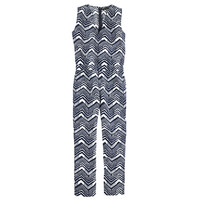 J.Crew Womens Tall Linen-Cotton V-Neck Jumpsuit In Zigzag