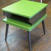 Upcycled Mid Century Modern Side Table with Avaocado Green and Wood Paneling. Atomic Era, Eames Era