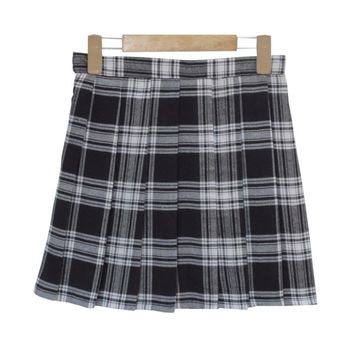 2017 Winter Wool Umbrella A Line Vintage Plaid Tulle Skirt Pleated Tartan Skirts Women's Woolen Kilt Student skirts ZY2870