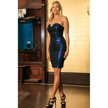 Navy Blue Metallic Strapless Sweetheart Bodycon Cocktail Dress - Women