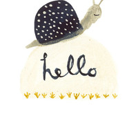 Art print - Hello Snail - childrens decor watercolor illustration digital print