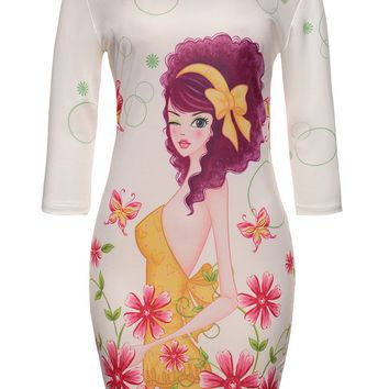 Streetstyle  Casual Round Neck Lovely Cartoon Floral Printed Bodycon Dress