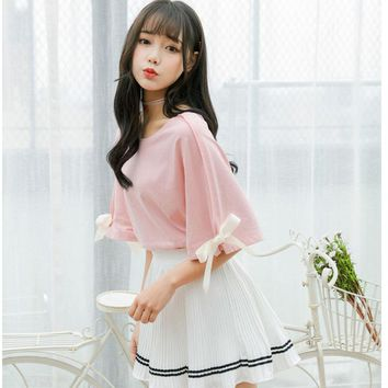 Kawaii Bow Sleeved T-shirt