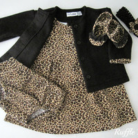Infant dress in cheetah print corduroy w/ black fleece jacket set,  includes panties, ruffled shoes, headband w/bow, Size 6-9 months