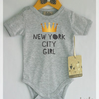New York city girl baby clothes. You can choose any other city. Crown baby girl clothes. Modern baby girl apparel.
