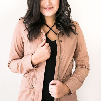 Clean Lines Utility Jacket- Taupe