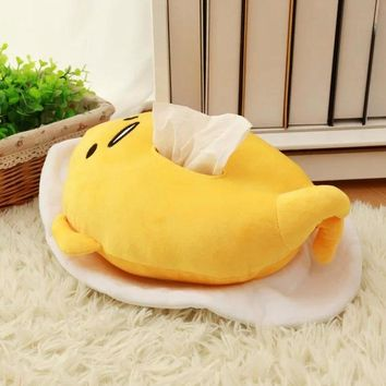 Candice guo super cute creative plush toy funny gudetama egg kawaii stuffed tissue paper box cover kid birthday gift present 1pc