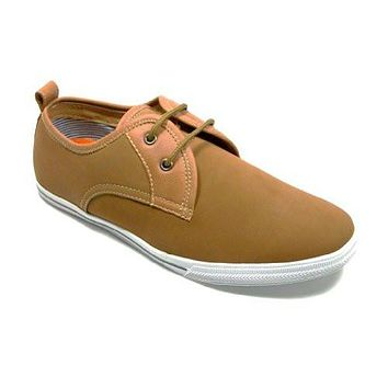 Men's 30179 Moccasin 2-Eye Lace Up Casual Sneaker Shoes BROWN