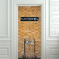 "Wall Door STICKER harry potter platform 9 3/4 , mural, decole, film 30x79"" (77x200 Cm)"