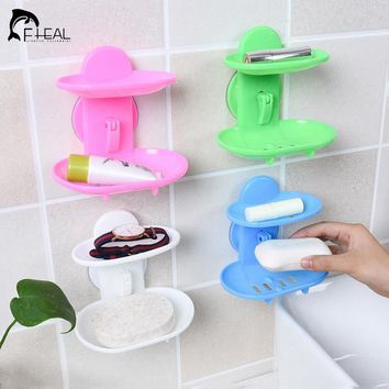 FHEAL New Kitchen Tools Bathroom Accessories Soap Holder Two Layer Suction Holder Soap Dish Storage Basket Soap Box Stand