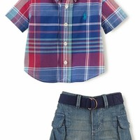 Ralph Lauren Madras Shirt & Denim Shorts (Baby Boys)