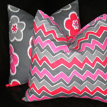 "Hot Pink Pillows Throw Pillows 18 inch Throw Pillow COVERS 18"" Designer Fabric FRONT and BACK Berry Pink, White, Gray"