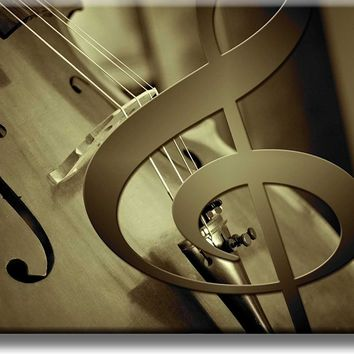 Big Music Notes and Violin Picture on Stretched Canvas, Wall Art Décor, Ready to Hang