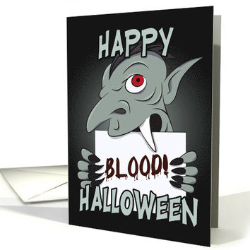 Vampire Holding Blood Sign for Happy Halloween card