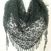 Women Lace Triangle Scarf-Black
