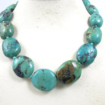 Turquoise Nugget Necklace. Southwestern Chunky Large Rustic Boulder Turquoise Necklace.