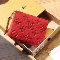 LV Louis Vuitton women's leather stylish zipper wallet F Red