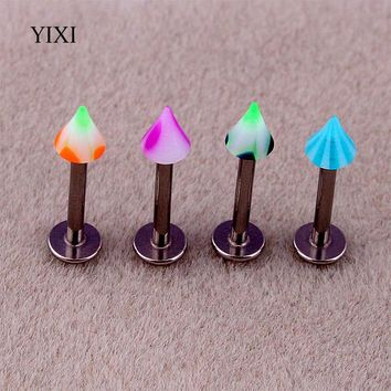 YIXI Fashion 10 PCS Spike Barbell Titanium Steel Anti Allergy Acrylic Labret Lip Piercing Body Jewelry Helix Cartilage Earrings