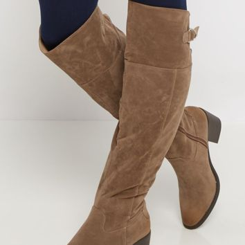 Taupe Buckled Faux Suede Over-The-Knee Boot | Over the Knee Boots | rue21