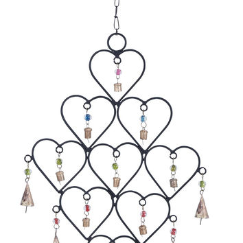 Metal Heart Wind Chime With Artistic Design