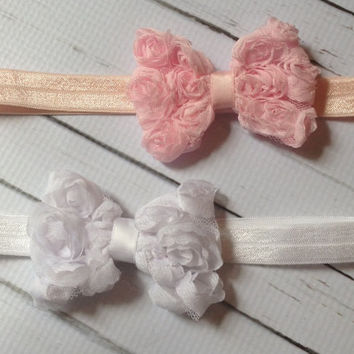 Baby Girl Headbands..Pink and White Baby Girl Headbands...Newborn, Toddler Headbands