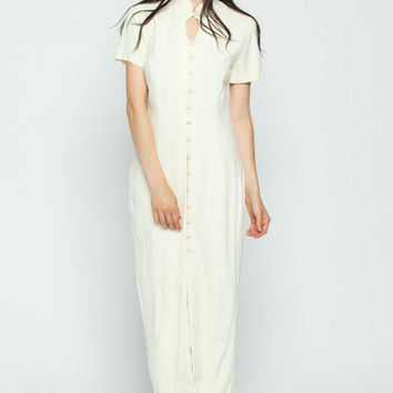 Boho Dress 90s Maxi Button Up BACKLESS Ivory White Cut Out Shift 1990s Grunge Keyhole Sheath Mandarin Collar Vintage Bohemian Medium