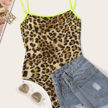 Neon Strappy Leopard Print Fitted Bodysuit