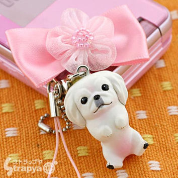 Pet Lovers Hand Made mini tam Dog Beads Cell Phone Strap Jewelry Strap Charm (Pekingese with pink ribbon)- 123-940621