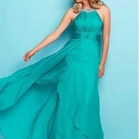 [85.99] Flowing Silk-like Chiffon Halter Neckline A-Line Prom Dresses With Beads & Rhinestones - dressilyme.com