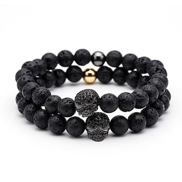 Badass Natural stone Beads with Skull - 8 Color Options
