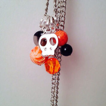 Black and orange Halloween charm necklace skull by MynisaUnique